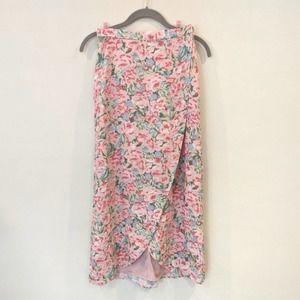 LPA floral wrap midi skirt pink blooms XS